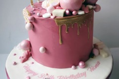 Fiona - Pink & Gold Drip Cake
