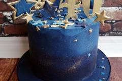 Emma - Blue and Gold 40th Birthday Cake