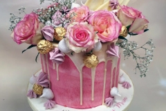 Ann - Pink roses drip cake
