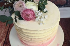 Karen - Pink Ombre Buttercream and flowers Birthday Cake