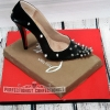 Nicola - Black Spiked Louboutin Shoe - Cake Topper
