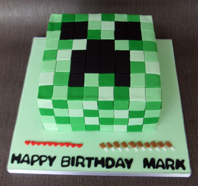 how to make a minecraft creeper birthday cake
