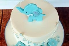 Alex - Elephant and Blocks Christening Cake