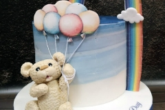 Luke - Bear, Balloons and Rainbow Christening Cake