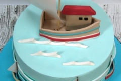 Conor - Sailing Boat Christening Cake