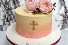 Sandra - pink ombre roses Christening Cake