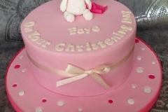 Faye - Pink Spots and Bear Christening Cake