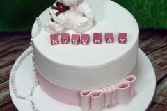 Ruby May - Bear, Block and Beads Christening Cake