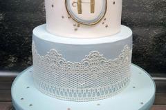 Harry - Vintage Lace and Blue Monogram Christening Cake