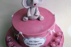 Ada Therese - Elephant and Blocks Christening Cake