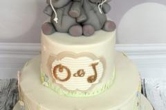Oscar and Juliette - Elephant Christening Cake