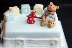 Mason - Bear and Blocks Christening Cake