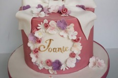 Joanie - Flowers and Bow Christening Cake