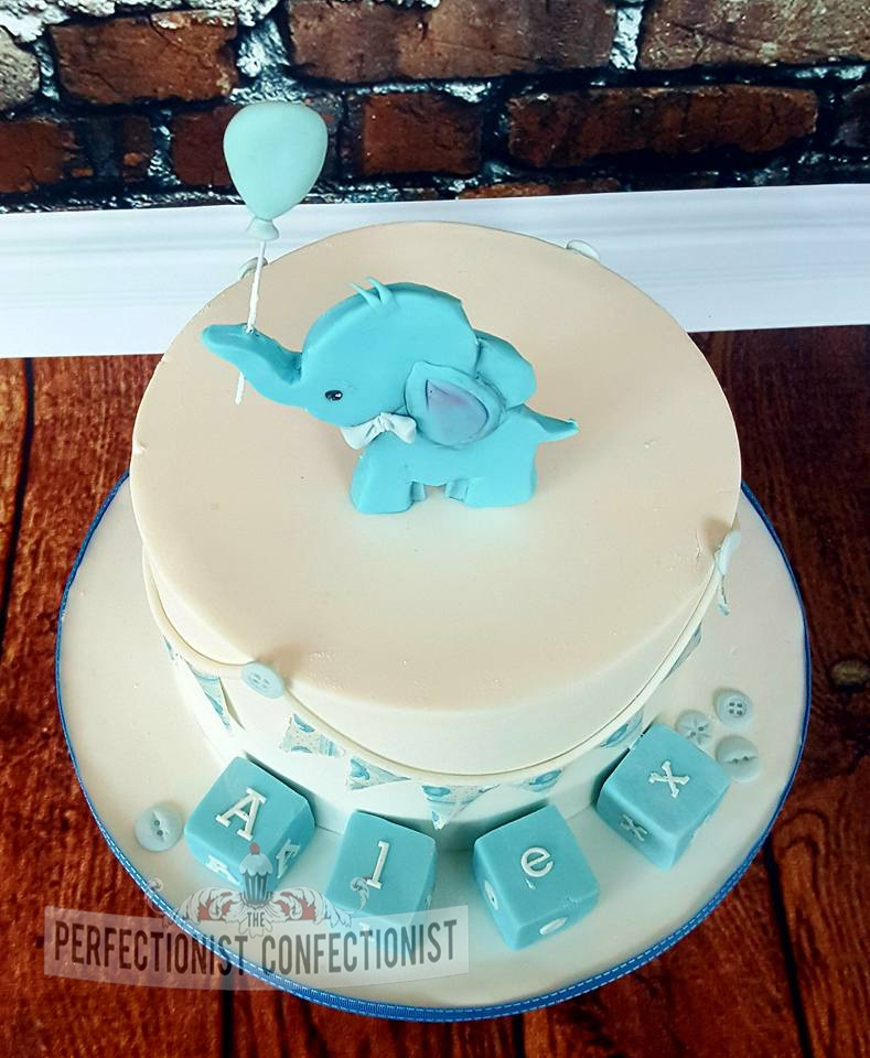 Alex - Elephant and Blocks Christening Cake