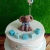 Jacob - Elephant and Blocks Christening Cake