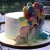 Robert - Elephant and Balloons Christening Cake