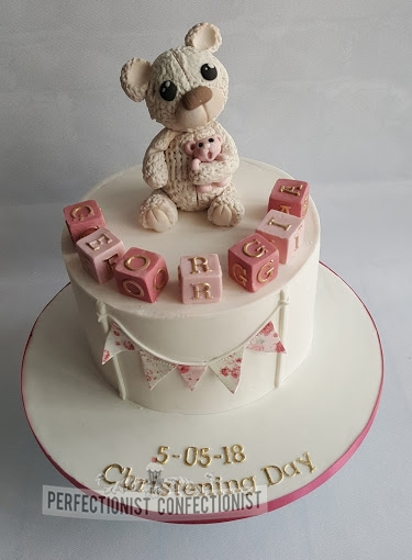 Georgia - Bear and Blocks Christening Cake
