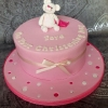 Faye - Pink Spots and Bear Christening Cake