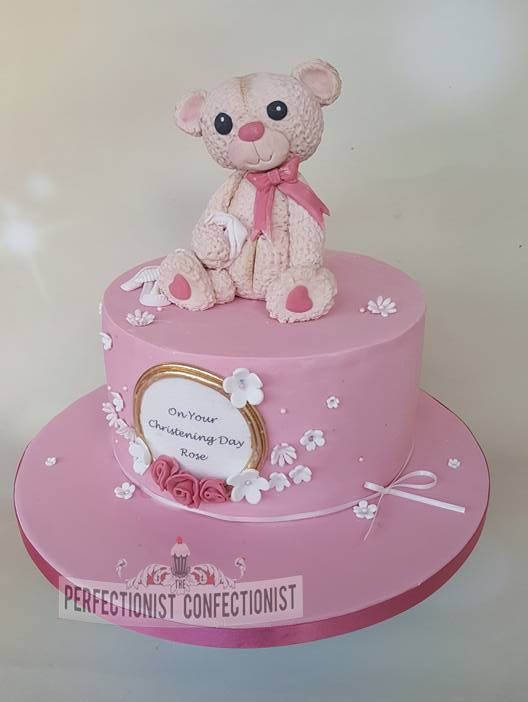 Rose - Bear and Roses Christening Cake
