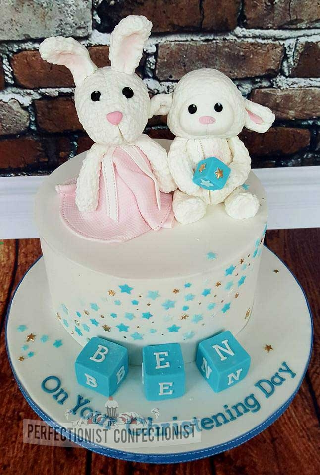 Ben - Bunny and Lamb Christening Cake