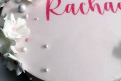 Rachael - Pink and white flowers Confirmation Cake