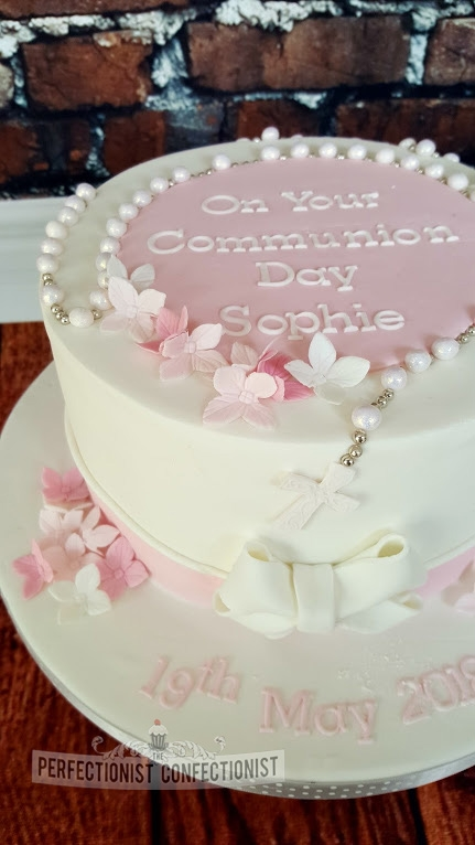 Sophie - Pink and white communion cake