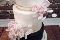 Katie & Nick - Navy and blush rose wedding cake