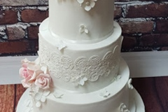 Amy & Derek - Roses and Lace wedding cake