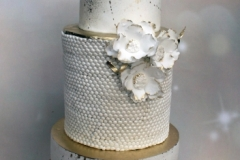 Dee & Rob - White and gold wedding cake