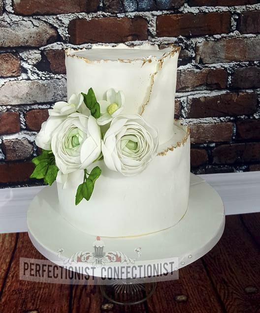 Ricky and Satomi - Ranunculas Wedding Cake